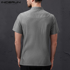 Image 4 - INCERUN Men Chef Uniform Short Sleeve Solid Color Stand Collar Double Breasted Kitchen Food Service Restaurant Tops Chef Jackets