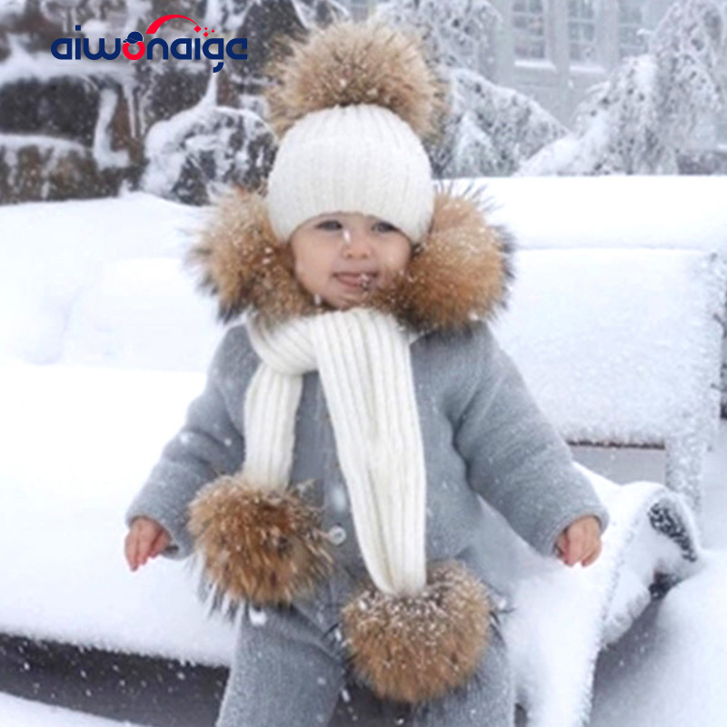 2019 Women's Hat Scarf Set Raccoon Fur Pom Knitted Cap Hat Hats Scarf High Quality Soft Hat Scarf Winter Warm Women  Cotton  New