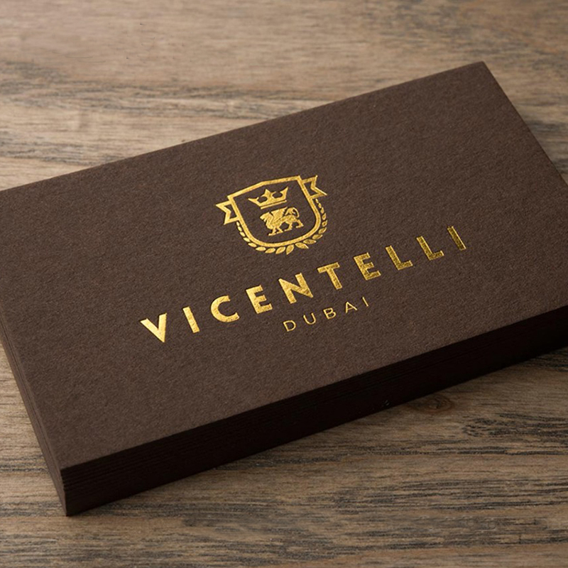 600 Gram Coffee Color Paper Business Card With Gold Letterpress LOGO Embossing Blue Cards Printing