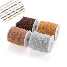 Collar chapado en oro Punk O cadena larga, cadenas de enlace abierto para DIY, joyería, suministros hechos a mano, 5 m/lote de 2, 2,5 y 5,8mm