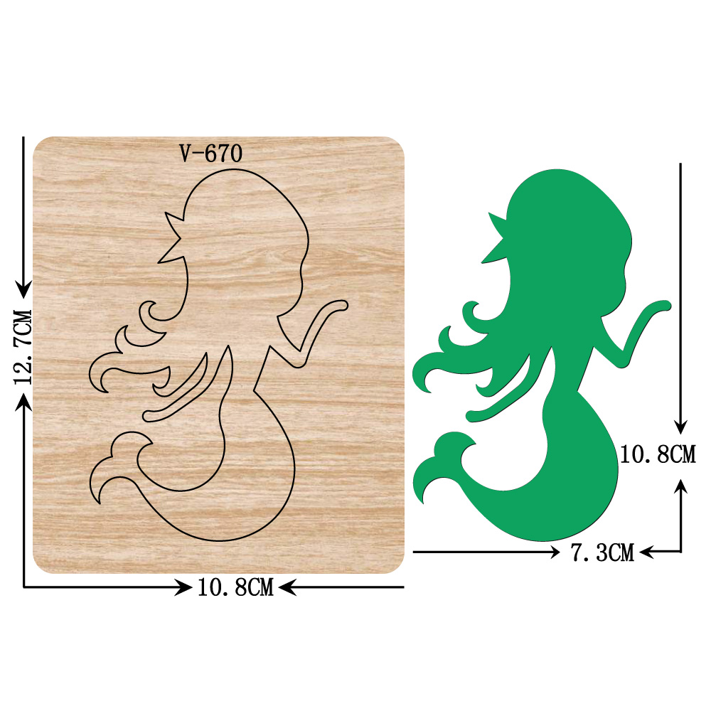New Mermaid Wooden Dies Cutting Dies Scrapbooking /Multiple Sizes / V-670 Compatible with most die cutting machines