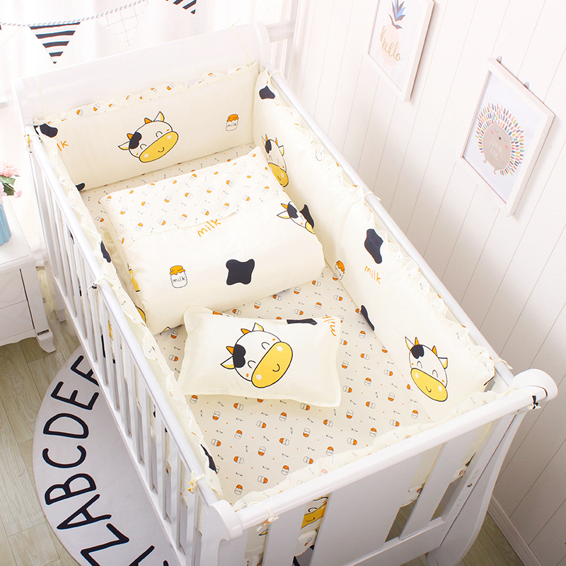 Newborn Crib Bedding Set 5pcs Bed Linen 100% Cotton 5pcs Baby Cot Bedding Set Include Bed Sheet Bumpers With Filling, 8 Sizes
