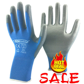 12 Pairs Safety Protective work gloves for PU palm coating safety glove - discount item  15% OFF Workplace Safety Supplies