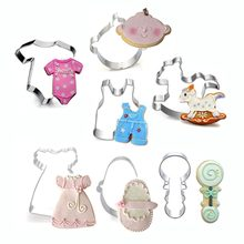 Lovely Baby Cookie Mold Set Stainless Steel Cloth Bib Feeding Bottles Biscuit Cutter Home Diy Cookie Decoration Mould(China)