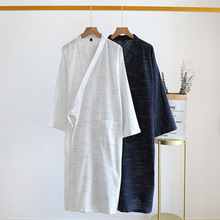 Bathrobe Sweat-Steaming New-Style Home-Service Long Cotton Men's Summer And Cloth Striped