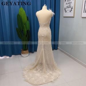 Image 3 - Luxe Kralen Mermaid Veren Prom Dresses 2020 Sexy V hals Backless Afrikaanse Avond Formele Jurk Lange Graduation Gowns