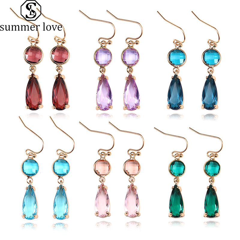 Модные Многослойные Стеклянные хрустальные серьги, синие и розовые каплевидные серьги-капли для женщин, милые ювелирные изделия в стиле бо...
