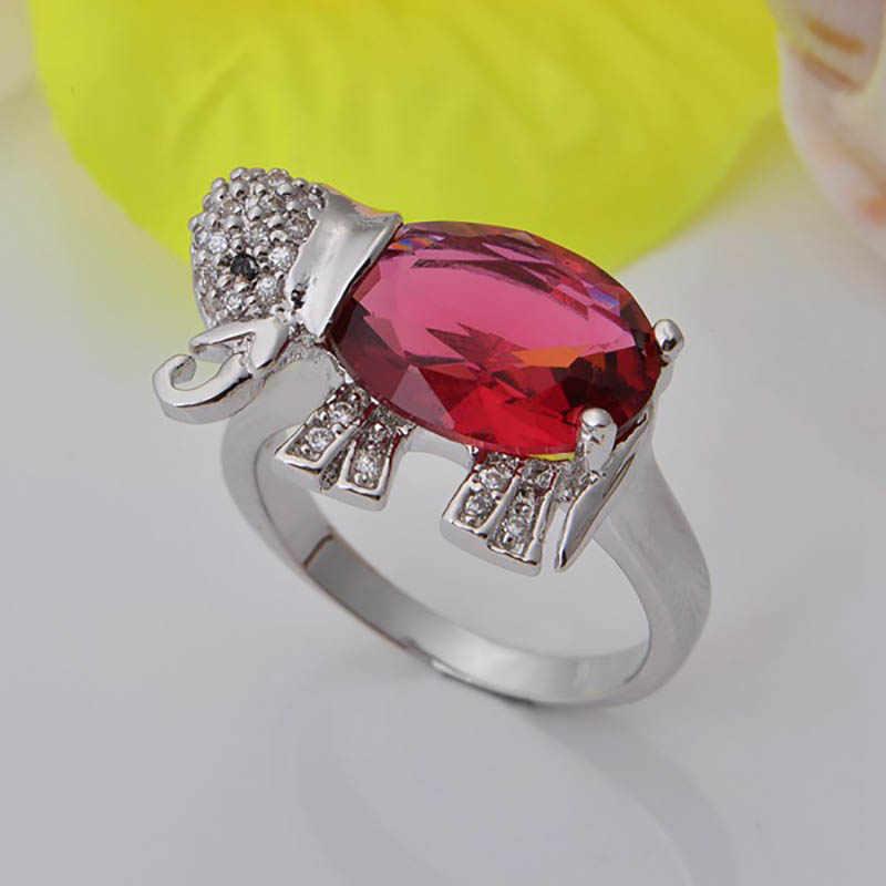 Jellystory אופנה 925 סטרלינג תכשיטי כסף סט עם פיל בצורת רובי חן תליון שרשרת עגילי טבעת לנשים