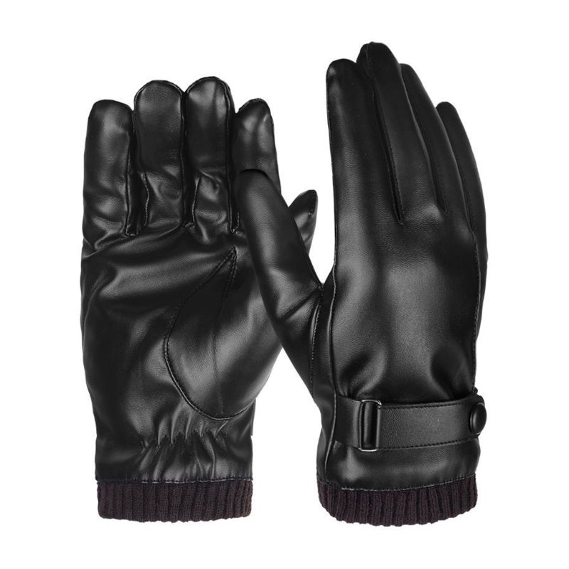 Men Winter Full Touchscreen Driving Texting Gloves Cold Weather Thermal Lining Adjustable Ribbed Cuff Artificial Leather Mittens