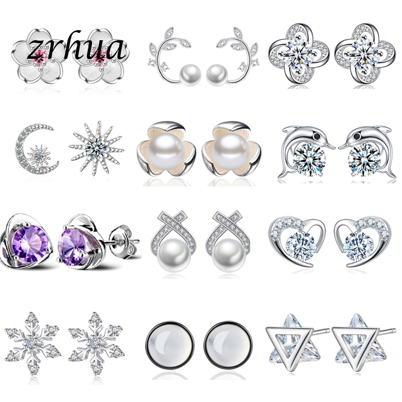 925 Sterling-Silver Stud Earrings 2019 Newest Charm Gifts Jewelry For Women Girls Vintage Party Engagement Retro Brincos