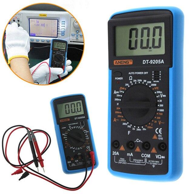 DT9205A Handheld Digital Multimeter LCD AC DC Automatic Range Power Multimeter Ammeter Ohmmeter Resistance Capacitance Meter