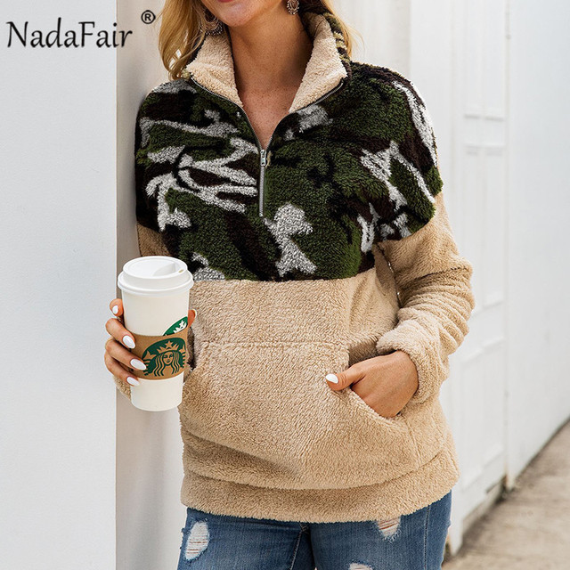 Nadafair Fluffy Oversized Hoodie Leopard Patchwork Zip Fleece Casual Plus Size Sweatshirt Women Pullover Overcoat Hoody Ladies 3