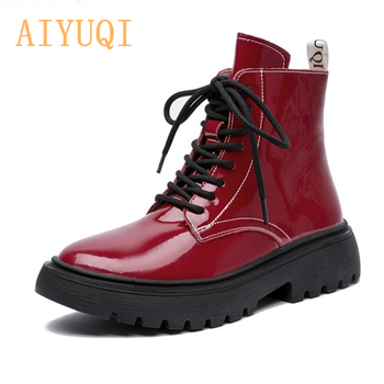 AIYUQI Women Martin Boots Winter 2021 New Genuine Leather Fashion Ankle Lace Up Fur Motorcycle