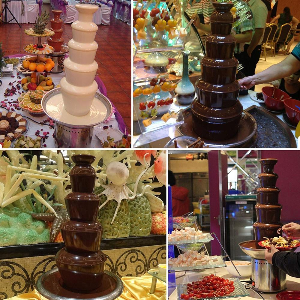 5 уровня шоколадный фонтан коммерческий 68 см устройство шоколадного фонтана из Нержавеющая сталь фонтан из шоколадного фондю для вечерние свадебные туфли