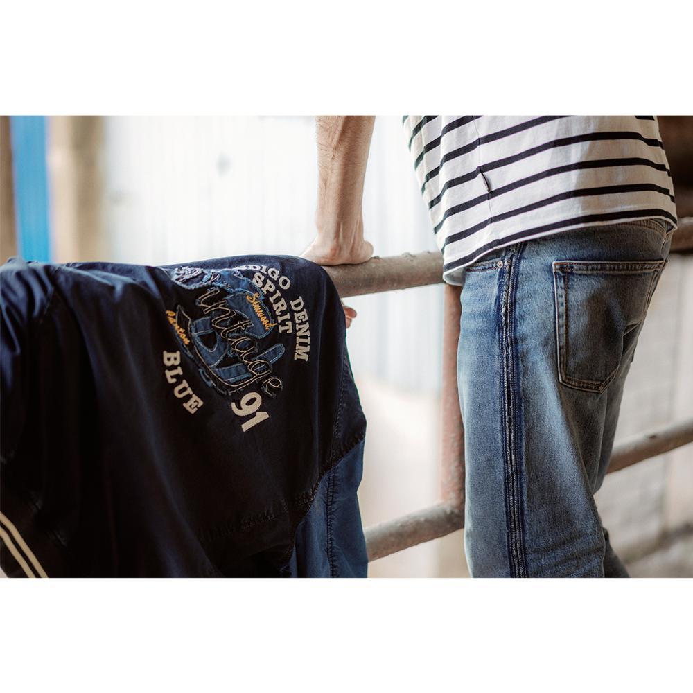 Image 2 - SIMWOOD 2020 spring Winter New Indigo Bomber Jacket Men Fashion  embroidery baseball contrast jackets fashion Vintage coats  90372Jackets