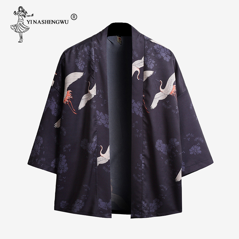Men Japanese Kimono Traditional Unisex Harajuku Beach Loose Thin Shirt Crane Print Blouses Coat Yukata Women Kimonos Cardigan