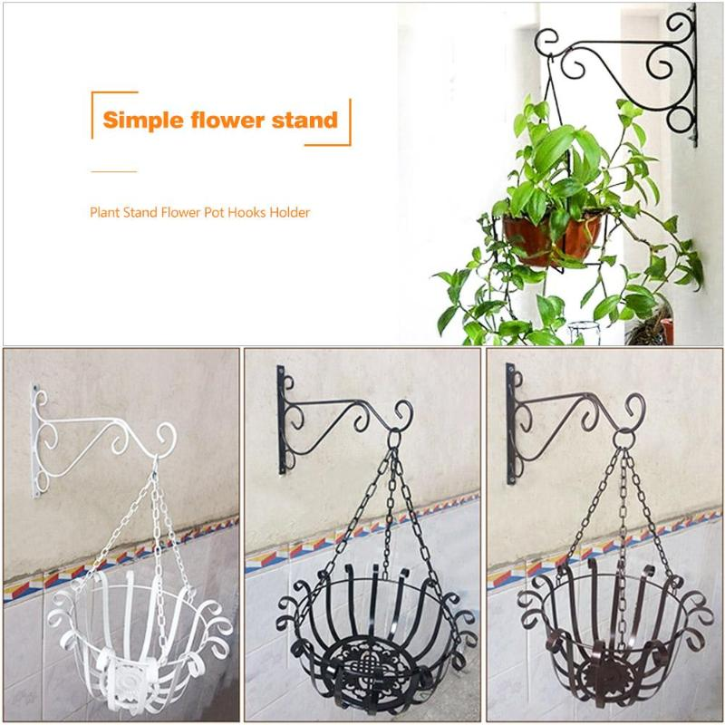 Wall-mounted Wrought Iron Hook Hanging Basket Support Plant Flower Pots Decorative Shelf Balcony Garden Art Crafts