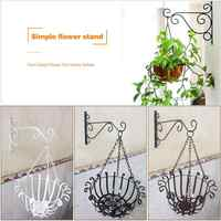 Wall-mounted Wrought Iron Hook Hanging Basket Support Plant Flower Pots Decorative Shelf Balcony Garden Art Crafts