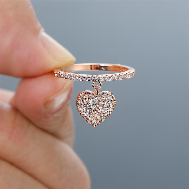 Cute Heart Pendant White Zircon Rings For Women Yellow Gold/White Gold/Rose Gold Engagement Promise Ring Female Wedding Jewelry 3