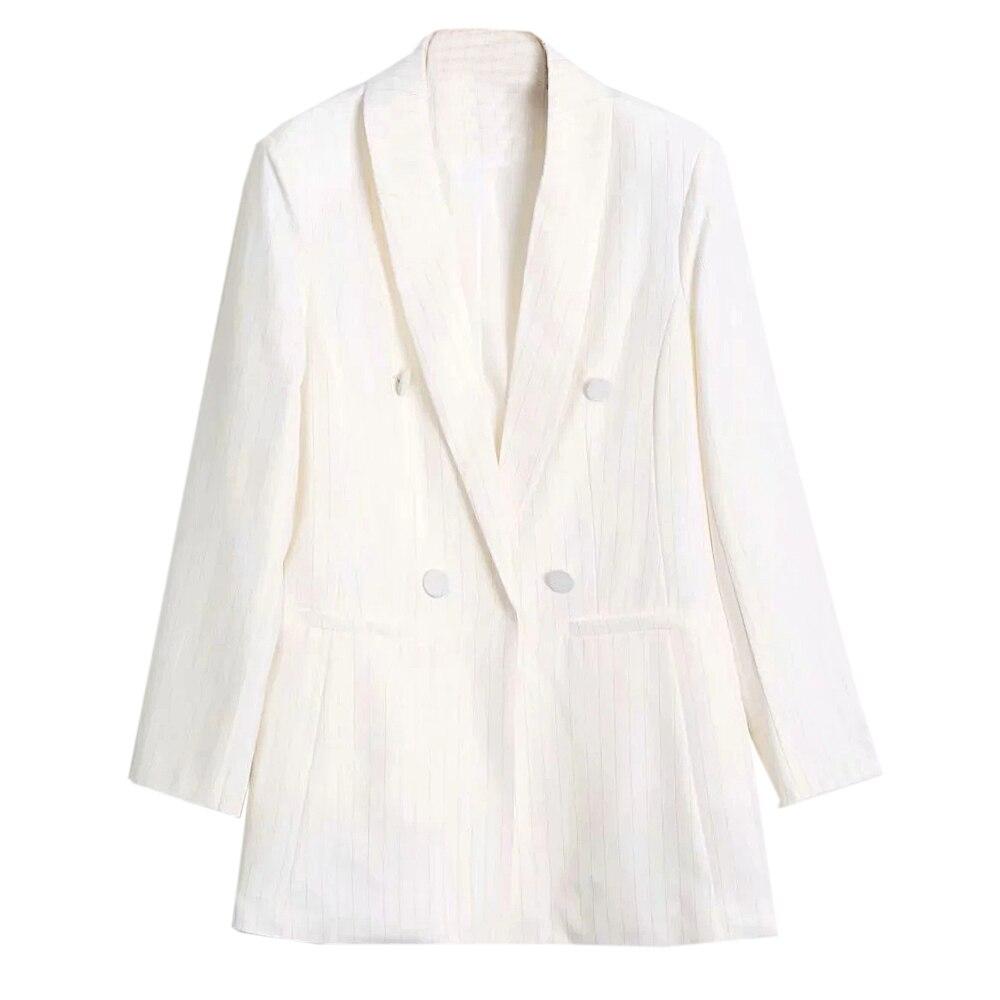 XNWMNZ Za Vintage Loose Women stripe Blazer Autumn Chic Double Breasted Female Long Sleeve Suit Jackets Elegant Ladies Blazer