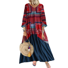 Plus Size L-5XL Dress Women Casual Loose Patchwork O-Neck Autumn Vintage Elegant Fashion Ladies Clothes