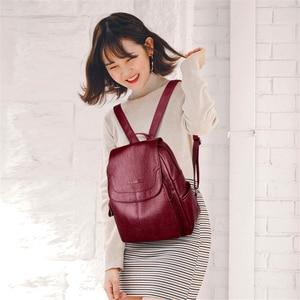 Image 2 - Mochila de cuero para mujer Sac A Dos, mochila de gran calidad para mujer, mochila de diseño de lujo de gran capacidad, mochila informal para niñas