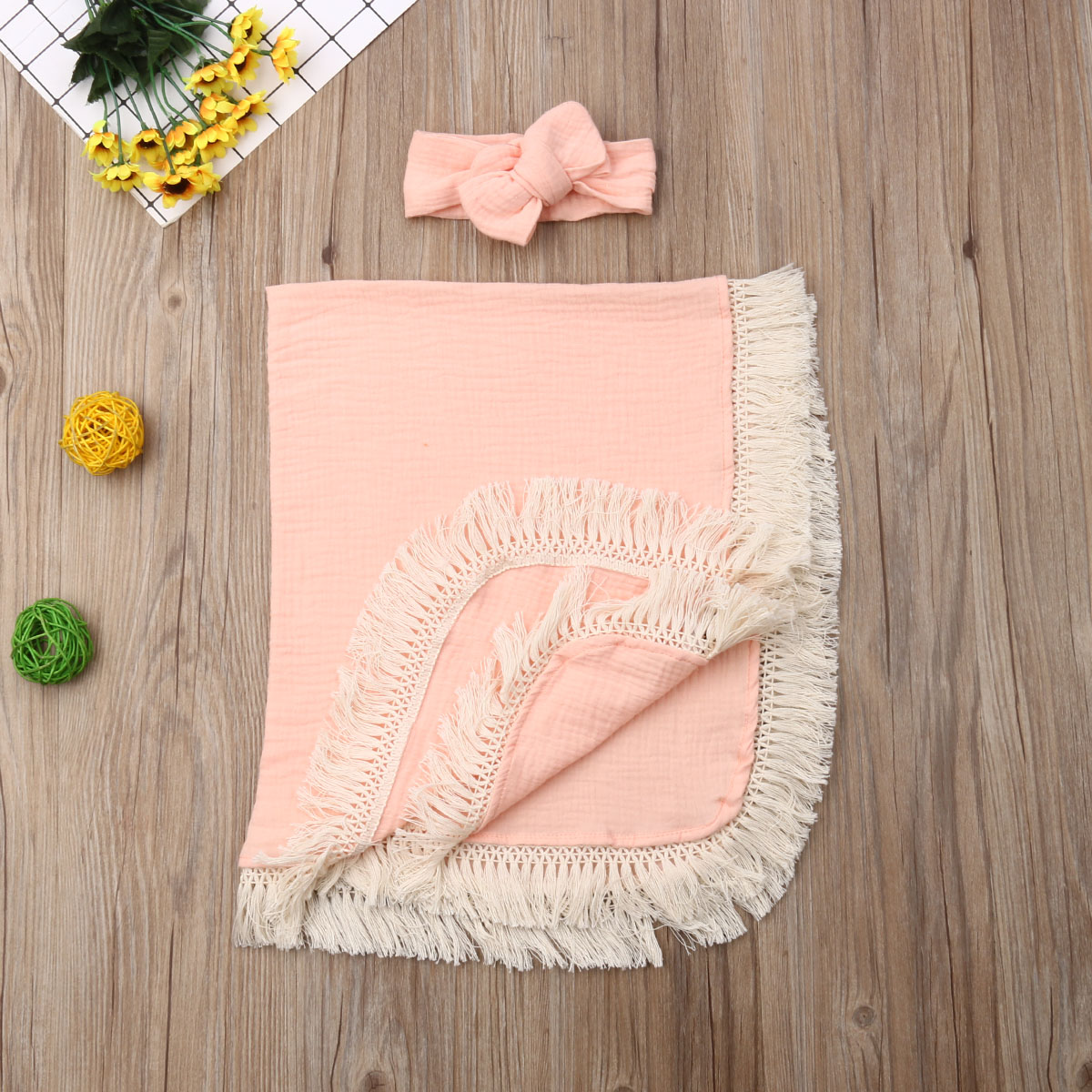 2PCS Newborn Baby Girls Boys Swaddle Wrap Tassels Sleeping Bag+Hat Cotton Outfits Set For Newborn Baby 0-6M