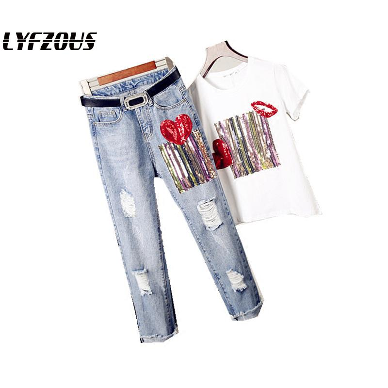 LYFZOUS Women Fashion Sequins T Shirts Denim Pants Suits Heart Printed Woman Loose Tshirt Hole High Waisted Jeans Trousers Sets