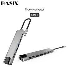 Basix adaptador de corriente USB tipo C a HDMI, RJ45, Ethernet, puertos múltiples, USB 3,0, PD, para MacBook Pro, Dock, USB C, HUB HAB