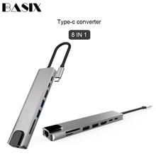 Basix adaptateur dalimentation USB Type C vers HDMI, RJ45 Ethernet, multi ports USB 3.0, USB 3.0, PD, pour MacBook Pro, Dock USB C HUB HAB