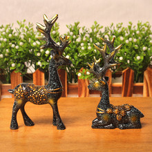 European style 1Pair Resin Deer Figurine Statue Home Living Room Decor Crafts Sculpture Creative Gifts Modern Desktop Ornament turtle tortoise figurine 2 nice gemstone opalite crystal carved statue crafts home decor