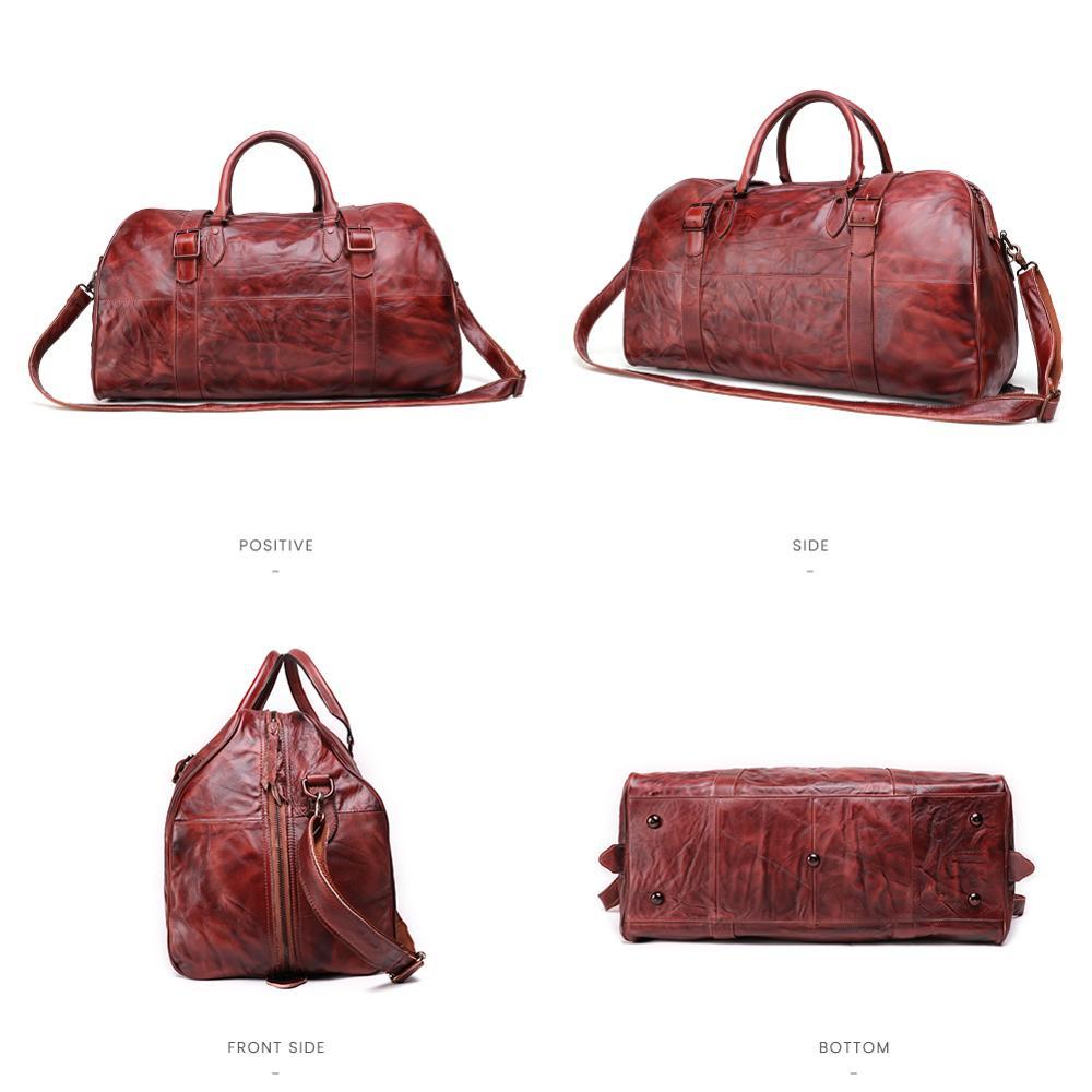 JOGUJOS Homens Duffel Bag dos homens de Couro Genuíno Bolsa Saco Saco de Viagem Bagagem Bolsa de Ombro Projeto Duffle Bag Weekend Tote Do Vintage homens - 4