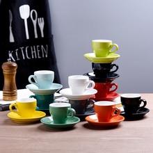 80cc цветные дешевые толстые керамические Эспрессо-чашки Блюдце Набор кафе бытовой Caffe латте Expresso сильный кофе кружки поднос