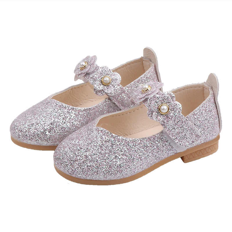 Kids Toddler Girls Princess Pearl Sequins Party Wedding Dress Shoes Soft Sole