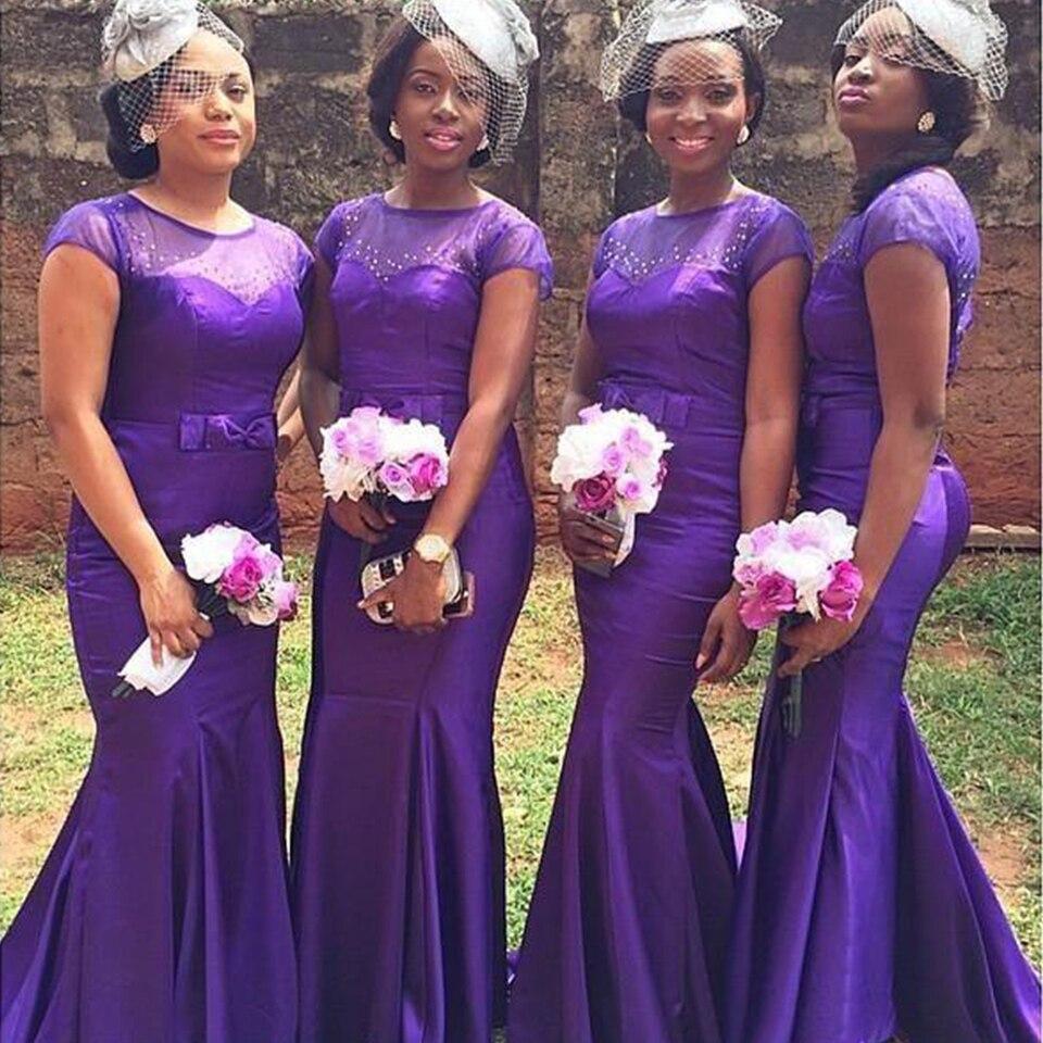 7 Afrika Mermaid Bridesmaid Dresses Panjang Cap Sleeve Purple Wedding  Party Dress Satin Vestido de Festa de Casamento Bow