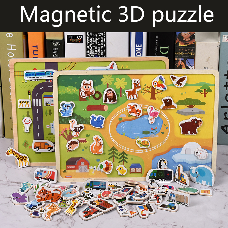 Wooden Magnetic Puzzle Animal Traffic Vehicle Scenes Game Children Baby Early Educational Learning Toys Jigsaw Puzzles For Kids