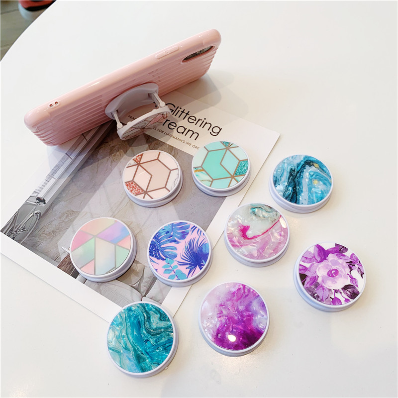 Abstract Marble Folding Stand Holder For Mobile Phone For Iphone XS Max Pad For Huawei For Samsung Cute Grip Contraction Bracket