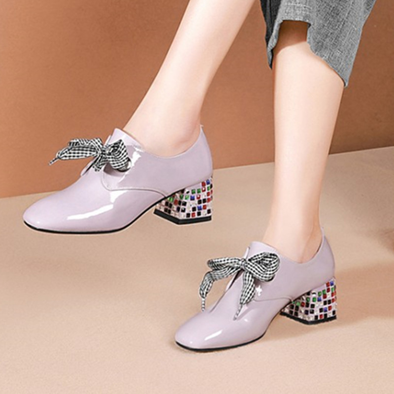 2020 New Spring Summer Solid Rhinestone Decoration Party Single Shoes Woman Brand Square Toe High Heels Cross-tied Pumps