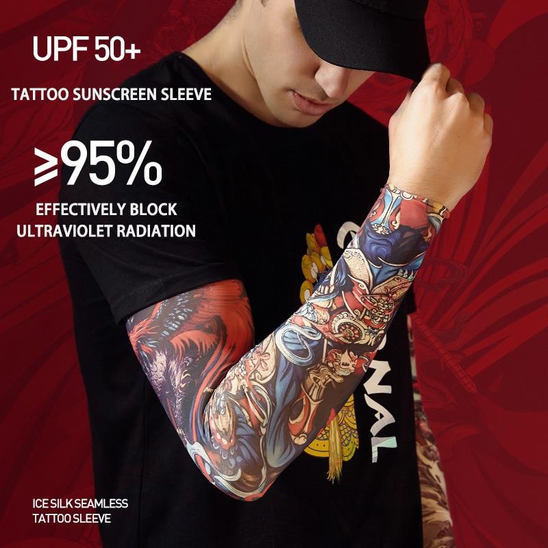 Летние солнцезащитные перчатки с татуировкой из ледяного шелка для улицы мужские перчатки без пальцев для вождения и спорта женские рукава