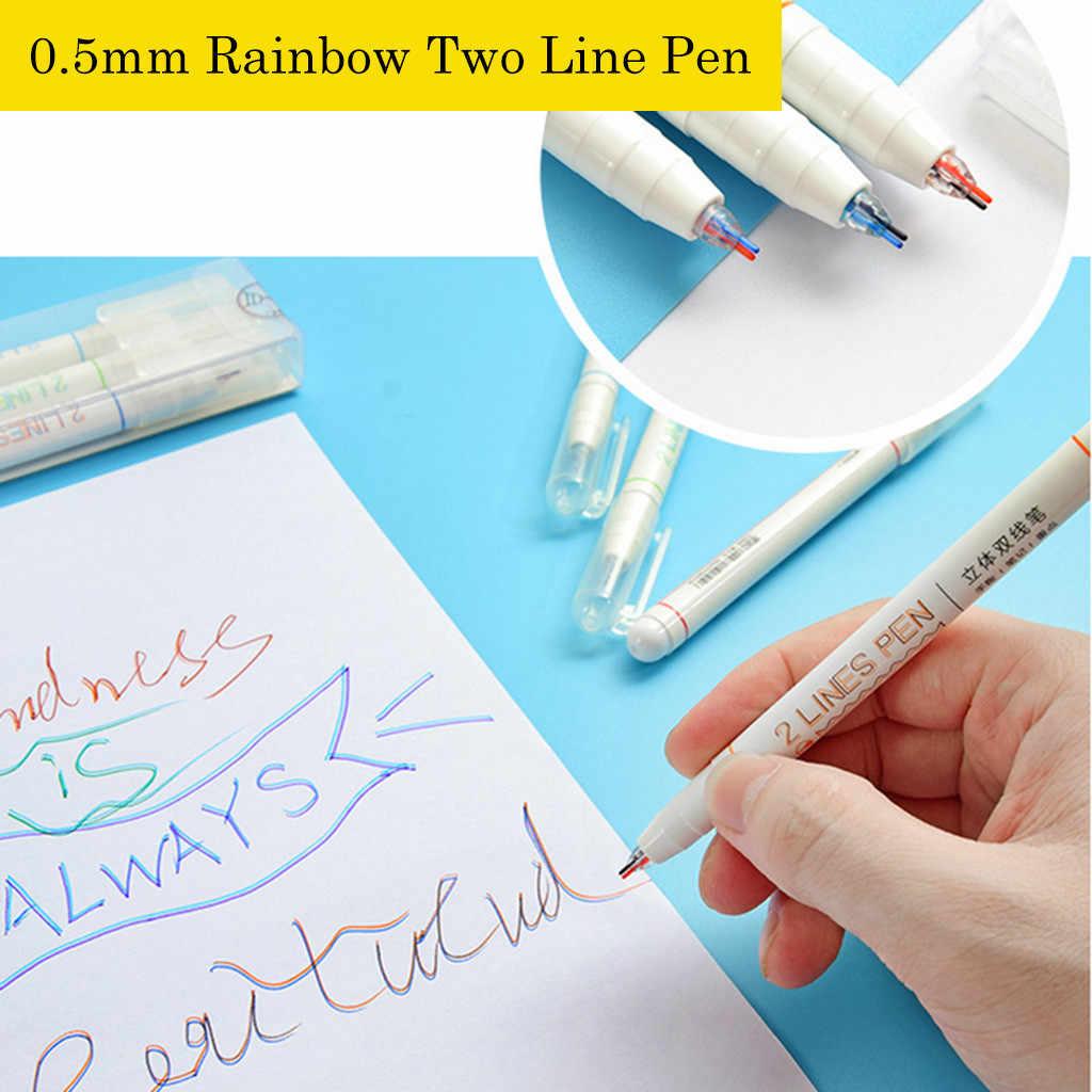 3 Cái/hộp Sáng Tạo 2 Màu Dòng Bút Gel Nghệ Thuật Vẽ Graffiti Bút Học Sinh Đọc Bút Tự Làm Đạn Tạp Chí Văn Phòng Phẩm nguồn Cung Cấp