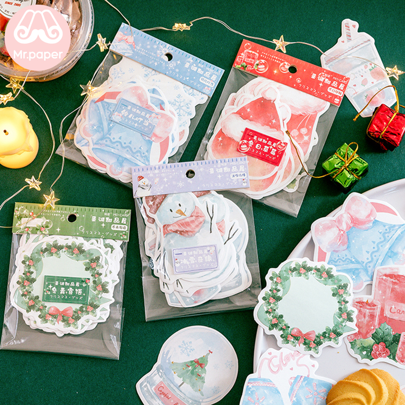 Mr Paper 30pcs/lot 4 Designs Merry Christmas Snowman Socks Garland Loose Leaf Memo Pads Creative Celebrating Christmas Memo Pads