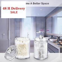 Organizador transparente recipiente de almacenaje de bastoncillos Organizador alfombrilla de almacenamiento de algodón acrílico caja de plástico para cosméticos baño dormitorio