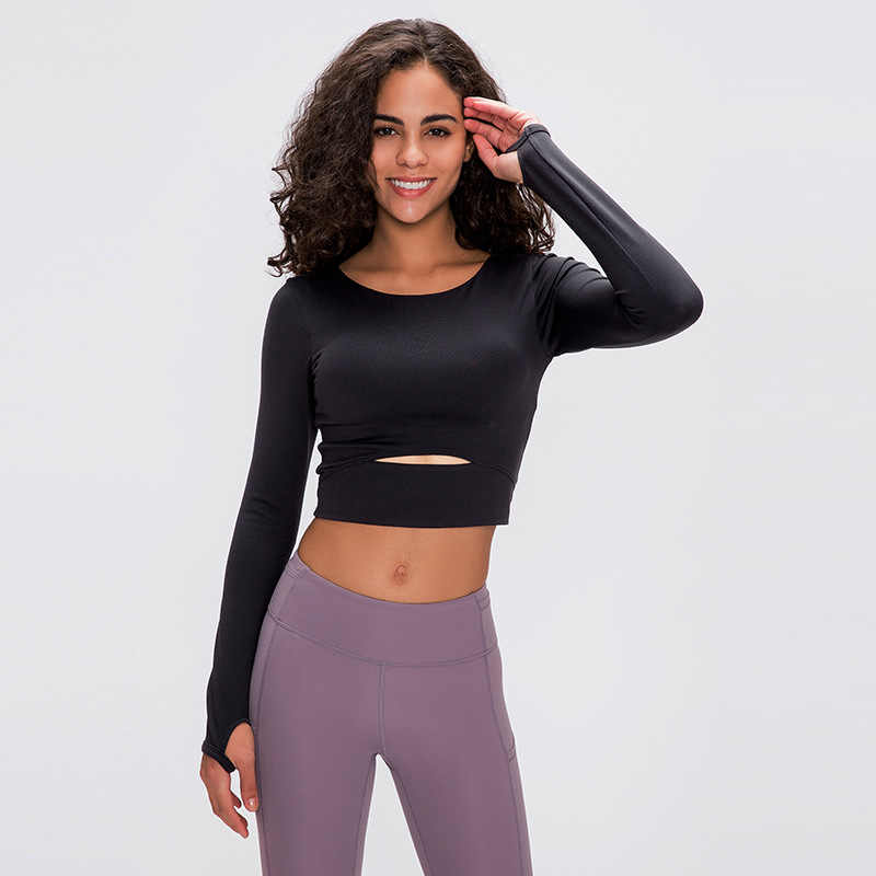 Nclagen Yoga Lange Mouwen Kleding Vrouwen Strakke Fitness Yoga Crop Top Gym Sport Workout Running Sexy Stretchy Training