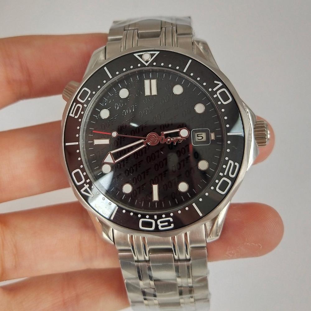 Automatische Mechanische Uhr 007 schwarz Zifferblatt Männer Keramik Lünette Datum Leucht hände Edelstahl solide Armreif 41mm Uhr 11 D18-in Mechanische Uhren aus Uhren bei