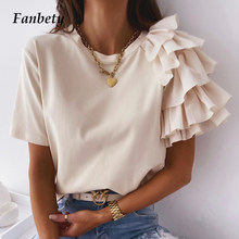 Office Lady Elegant O-Neck Solid Simple Blouse Summer Fashion Ruffle Short Sleeve Design Tops Women Casual Slim Pullovers Blusa
