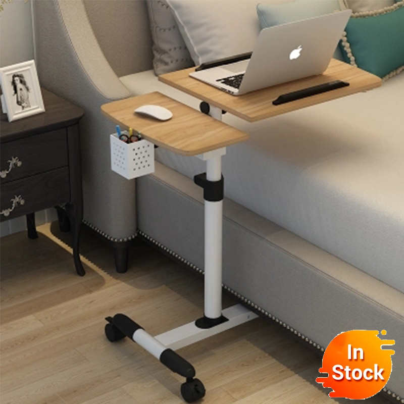 配信通常折りたたみコンピュータテーブル調節可能なポータブルラップトップデスク回転ラップトップのベッドすることができます持ち上げ立ちデスク