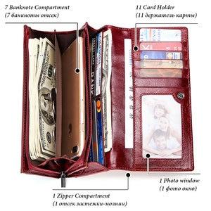 Image 2 - GZCZ Frauen Kupplung Brieftaschen 100% Echtem Leder RFID Mehrere Karten Halter Lange Mode Weibliche Geldbörse Mit Telefon Tasche 2020