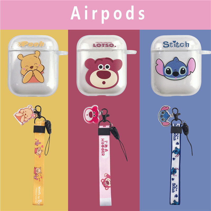 Cute Cartoon Soft TPU Lotso Winnie Bear Pooh Stitch Headphone Cases For Apple Airpods 1/2 Transparent Protection Earphone Cover