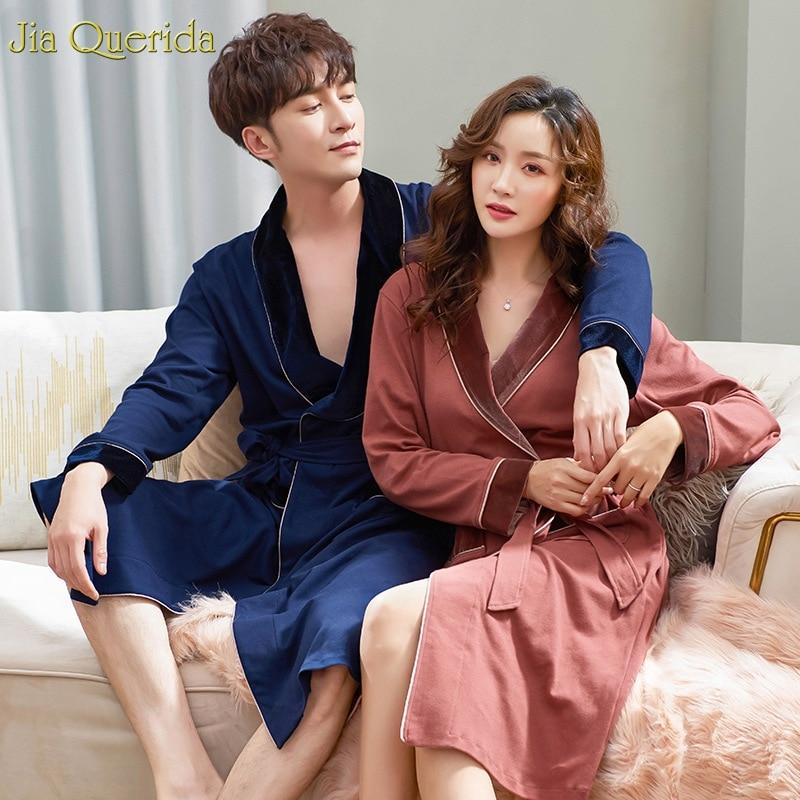 Luxury Couple Robe 100% Cotton Men And Women Matching Bathrobe Long Sleeve Velvet Collar Cuff Japanese Kimono Men's Night Robe