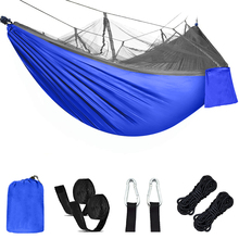 Portable Nylon Outdoor Hammock Camping Survival For Double People Travel Parachute Garten Swing   Fabric Size:210T Nylon SINGLE